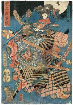 Utagawa Kuniyoshi / Minamoto Ushiwakamaru und Musashibo Benkei