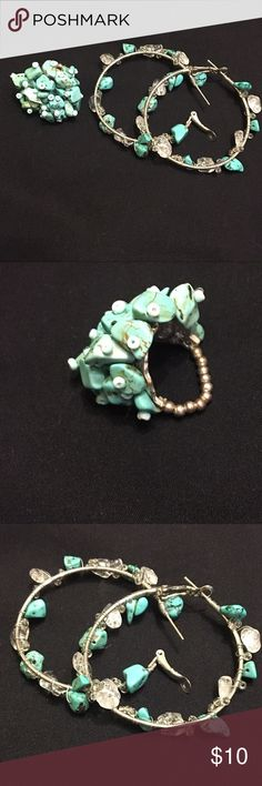 Turquoise hoop earrings and ring Turquoise and silver hoop earrings. Turquoise stones on ring (stretch and would fit size 7-8). Earrings never worn. Both in good condition! Jewelry Earrings