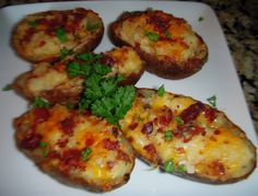 Loaded Potato Skins. Making these tomorrow night for Pats poker game.