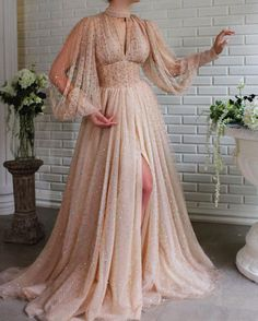 Margaery Crystals Gown Details – Beige dress color – Crystal tulle fabric – Long sleeves with V-neck, waist definition and an open leg gown – For special occasions Beige Dresses, Elegant Dresses, Pretty Dresses, Beautiful Dresses, Gorgeous Dress, Casual Dresses, Funky Wedding Dresses, Dress Wedding, Crystal Gown