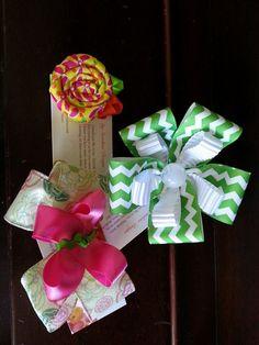 green, chevron, handmade flower, girl bow flower