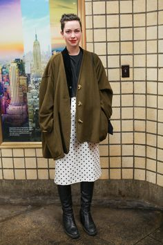 Subway Stalking! 60+ Real NYers En Route #refinery29  http://www.refinery29.com/nyc-subway-street-style#slide35  Army green + polka dots = metro perfection. B Train, 47-50th Streets/Rockefeller Center — 3/12, 8:02 p.m.