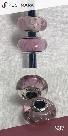 2 Pandora glass beads New with tag. Color is light pink Pandora Jewelry Bracelets