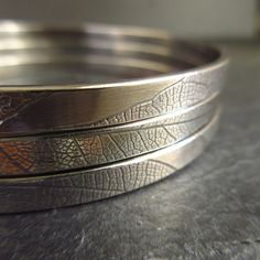 Sterling silver bangles with leaf vein by CinnamonJewellery