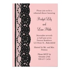 French Lace Rehearsal Dinner Invite in pink and black