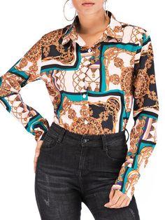 9b50b9e31664 Print Lapel Regular Long Sleeve Standard Women Blouse. Casual Tops For  WomenBlouses ...