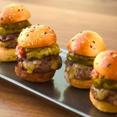 Wolfgang Puck's Mini Prime Cheeseburgers with Rémoulade and Aged Cheddar