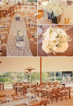 lovely lace, tented wedding reception at Cornerstone Sonoma