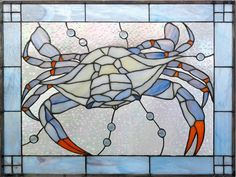 Blue Crab Stained Glass Window on Etsy, $450.00