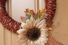 Harvest Sunflower  Handmade Yarn Wreath by wreathology on Etsy, $26.00