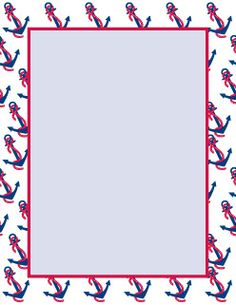 Anchor Nautical Navy Blue Vertical Striped Border Party Invitation