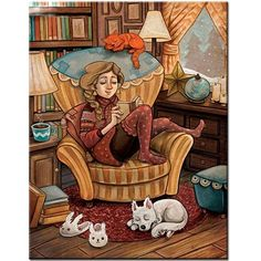 Books, Cats, Tea, Dogs, and a Cozy Library. Is there anything nicer or more comfortable? I Love Books, Good Books, Illustrations, Illustration Art, Reading Art, Reading Books, Girl Reading Book, Woman Reading, Pics Art