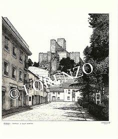 Almansa, Castillo desde la calle Hospital. Dibujo a plumilla sobre papel