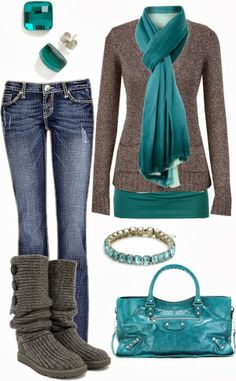 Teal and grey for winter
