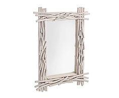 Espejo con marco de madera - blanco