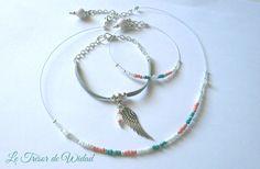 Parure collier et lot de bracelets . Bijoux fantaisie tendance : Parure par le-tresor-de-widad
