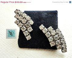 Vintage Rhinestone Earrings Silver Tone by VikisVarietyCraft, $9.00