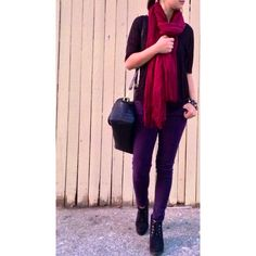 Fall outfit idea Sweater, skinny jeans, scarf and boots.