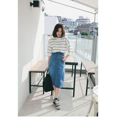 a gorgeous relaxed look with a striped top with long sleeves, a blue denim midi skirt with a slit, black sneakers and a tote Fashion Mode, Korea Fashion, Denim Fashion, Asian Fashion, Look Fashion, Girl Fashion, Fashion Outfits, Ladies Fashion, Korean Outfit Street Styles