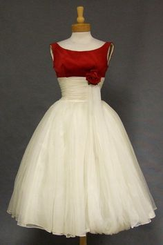 Ivory Chiffon & Crimson Velveteen 1950's Cocktail Dress w/ Balloon Hemmed Sash - Vintageous, LLC