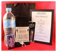 Groom's survival kit from Bride I so have to get this :)