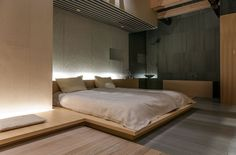 Unique Japanese Bedroom for Your Home. Japanese bedroom design style has unique characteristics. Japanese interior is about how to design the space that blends with nature. Japanese Bedroom, Japanese Interior, Japanese Apartment, Home Bedroom, Modern Bedroom, Bedroom Decor, Bedroom Ideas, Bed Design, House Design