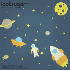 Outer Space Wall Decal - Nursery Wall Decals - Rocket Wall Decal - Rocket Sticker - 0083. $115.00, via Etsy.