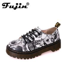 7dd3b5892c Fujin Women Platform Flats 2017 Spring Autumn High Quality Oxfords Solid  Plain PU Leather Creepers Casual Oxford Shoes Lady-in Women s Flats from  Shoes on ...