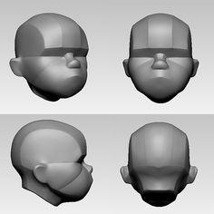 ArtStation - Simplified Heads, Mahan Amin 3d Model Character, Character Modeling, 3d Modeling, Zbrush Tutorial, 3d Tutorial, Anatomy Sculpture, Head Anatomy, Sculpture Head, 3d Mesh