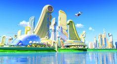 disney - meet the robinson's Disney And Dreamworks, Disney Pixar, Disney Cars Toys, Meet The Robinson, Futuristic City, Futuristic Architecture, Disney Crossovers, Walt Disney Animation Studios, City Background