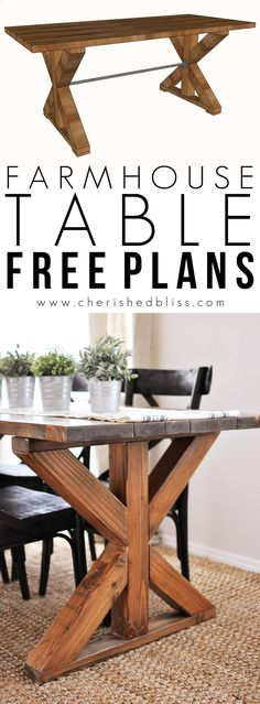Teds Wood Working X Farmhouse Table | This easy to build Farmhouse Table is the perfect addition to any dining or breakfast room. With its industrial touches and farmhouse style you will love serving meals at this table! Get A Lifetime Of Project Ideas & Inspiration!