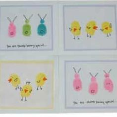 and other good Easter crafts on the site. crafts footprints Fingerprint Easter Cards {Easter Cards for Kids to Make} Spring Crafts, Holiday Crafts, Holiday Fun, Easter Projects, Easter Crafts For Kids, Easter Ideas, Easter Stuff, Diy Projects, Easter Activities