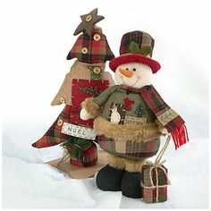 Christmas Luxury Collection Country Plush Tree or Snowman at Big Lots.