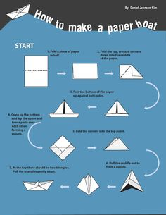 origami test the waters with paper boat to float