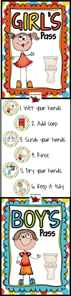 Bathroom passes with hand washing procedures on the reverse. Matching posters and sanitizer labels. ($)