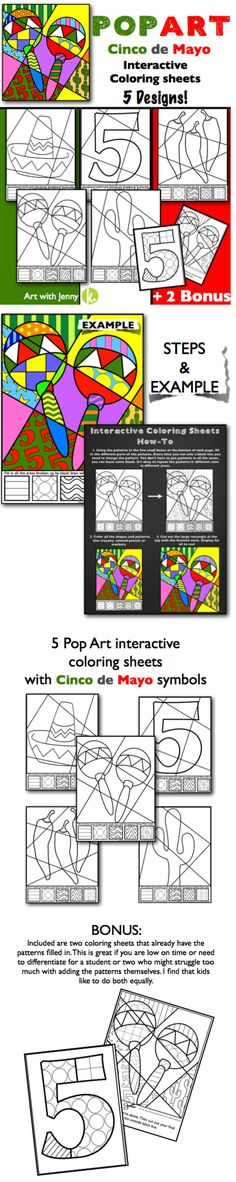 Get ready for the Fiesta!!! Cinco de Mayo interactive coloring sheets are a great way to have your students celebrate Cindo de Mayo and make art at the same time!