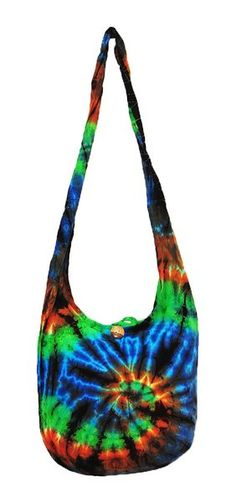 Thai Hippie Tie Dye Hobo Sling Crossbody Shoulder Bag Purse Handmade Zip Mix Pattern Cotton Gypsy Boho Messenger Medium (M838)