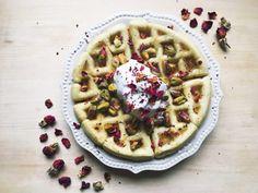 Pistachio Rose Water Belgian Waffles