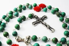 Traditional Rosary Necklace Green Turquoise Rosary by Exgalabur, $42.00
