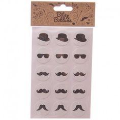 Autocollants thème Moustache - 60 Stickers par paquet