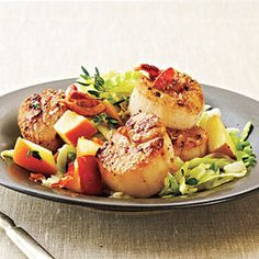 Seared Scallops with Bacon, Cabbage, and Apple | MyRecipes.com