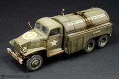 Plastic Model Kits, Plastic Models, Fuel Truck, Military Modelling, Military Diorama, Diecast Model Cars, Ford, Water Tank, Old Trucks