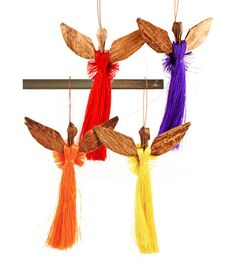 Authentic African Hand Made Colorful Sisal and Banana Fiber Angel Ornaments (Set of Angel Ornaments, Ornament Crafts, Holiday Ornaments, Christmas Crafts, Christmas 2015, African Christmas, African Crafts, African Kids, Origami Fish
