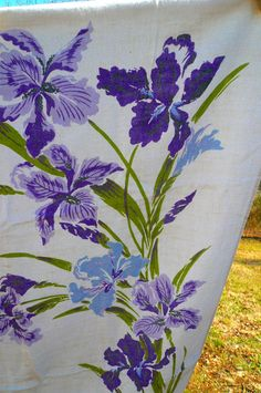 Vintage Linen Tablecloth Purple Iris Flowers by VintageReinvented