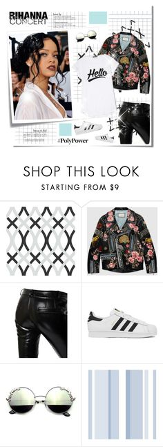 """Rihanna Concert"" by janiaame ❤ liked on Polyvore featuring Post-It, WallPops, Gucci, Each X Other and adidas"
