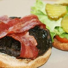 I would substitute the bun for 100% whole wheat,  needs less bread!          Beth's Portobello Mushroom Burgers Allrecipes.com