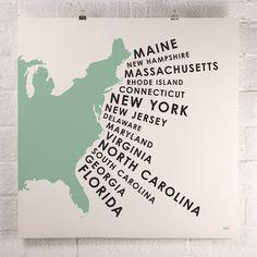ORANGE & PARK - East Coast States print http://www.orangeandpark.com/collections/prints/products/east-coast-states-print