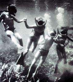 Vintage scuba diving