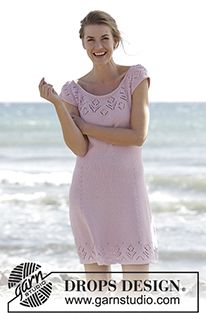 "Beach Date - Knitted DROPS dress with round yoke and lace pattern, worked top down in ""Muskat"". Size: S - XXXL. - Free pattern by DROPS Design"