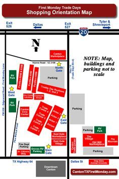 Information for new visitors and return shoppers to the First Monday Trade Days flea market in Canton Texas, including a quick orientation and maps of the swap meet grounds. Canton Tx Flea Market, Flea Markets In Texas, Canton Texas, Canton Tx Trade Days, Texas Vacation Spots, Vacation Ideas, Canton First Monday, City Events, Area Map
